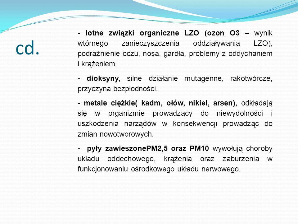 cd. - lotne związki organiczne LZO (ozon O3 – wynik wtórnego zanieczyszczenia oddziaływania LZO), podrażnienie oczu, nosa, gardła, problemy z oddychan