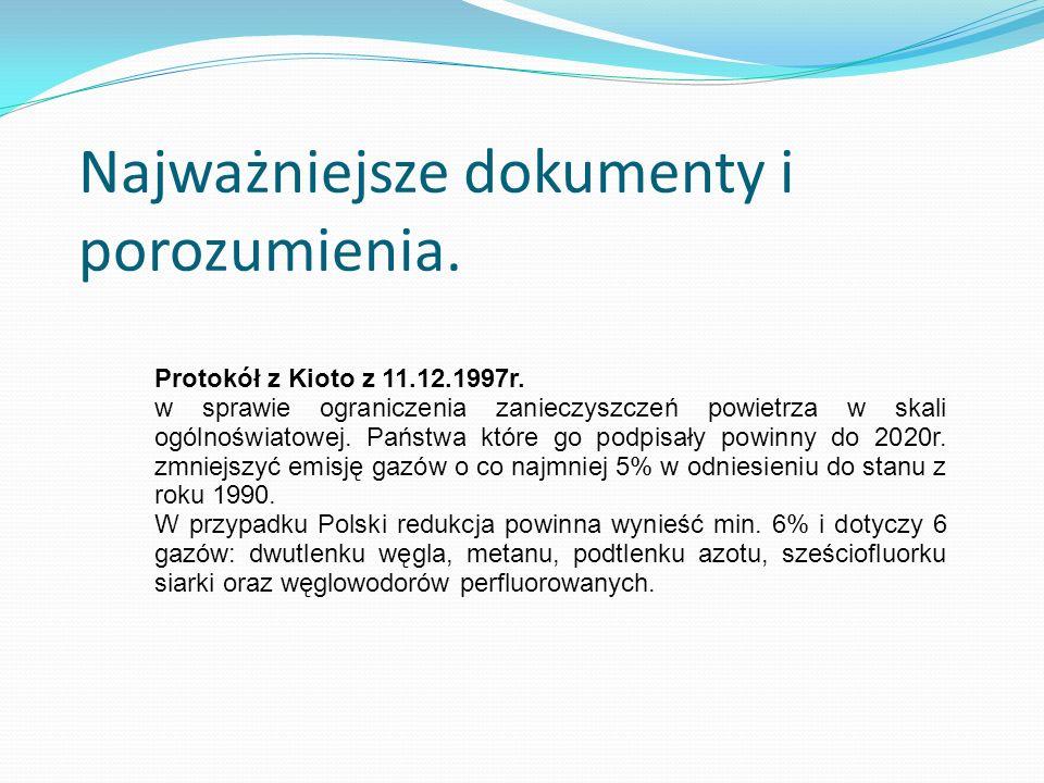 Najważniejsze dokumenty i porozumienia. Protokół z Kioto z 11.12.1997r. w sprawie ograniczenia zanieczyszczeń powietrza w skali ogólnoświatowej. Państ