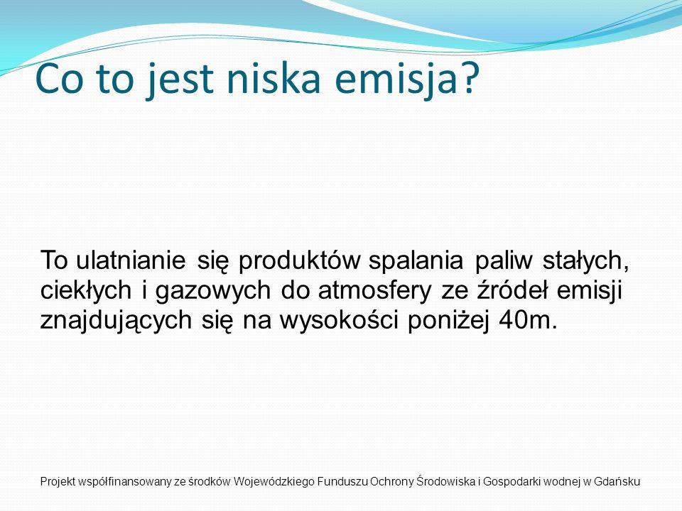 Co to jest niska emisja? Projekt współfinansowany ze środków Wojewódzkiego Funduszu Ochrony Środowiska i Gospodarki wodnej w Gdańsku To ulatnianie się