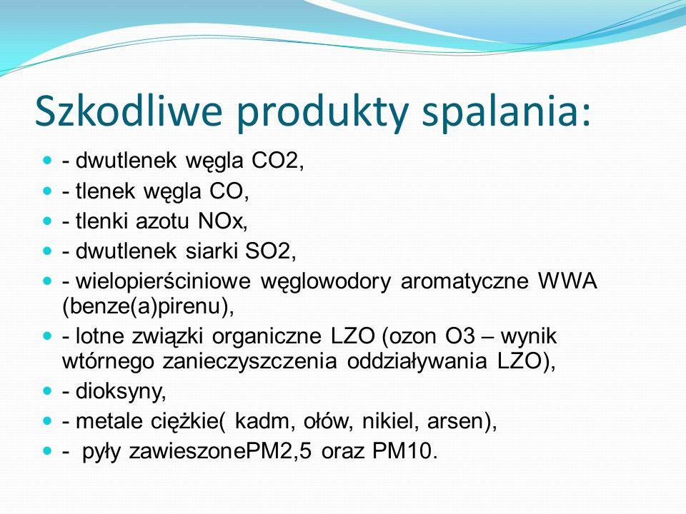 Szkodliwe produkty spalania: - dwutlenek węgla CO2, - tlenek węgla CO, - tlenki azotu NOx, - dwutlenek siarki SO2, - wielopierściniowe węglowodory aro
