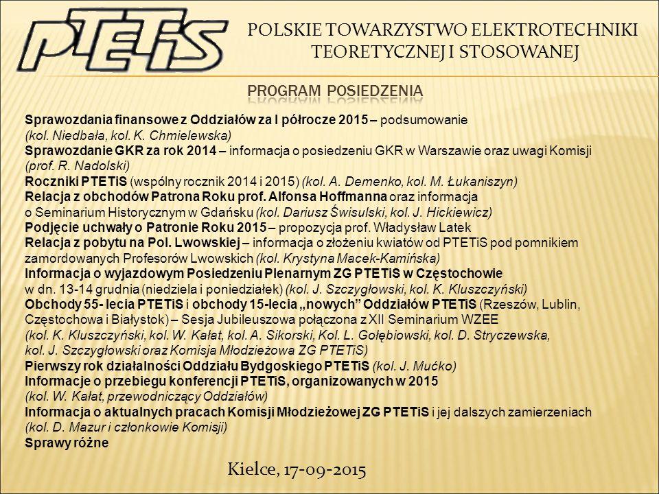 Kielce, 17-09-2015 Sprawozdania finansowe z Oddziałów za I półrocze 2015 – podsumowanie (kol.