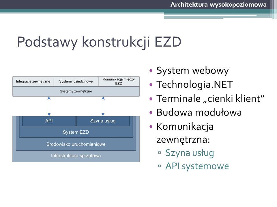 """Podstawy konstrukcji EZD System webowy Technologia.NET Terminale """"cienki klient"""" Budowa modułowa Komunikacja zewnętrzna: ▫ Szyna usług ▫ API systemowe"""