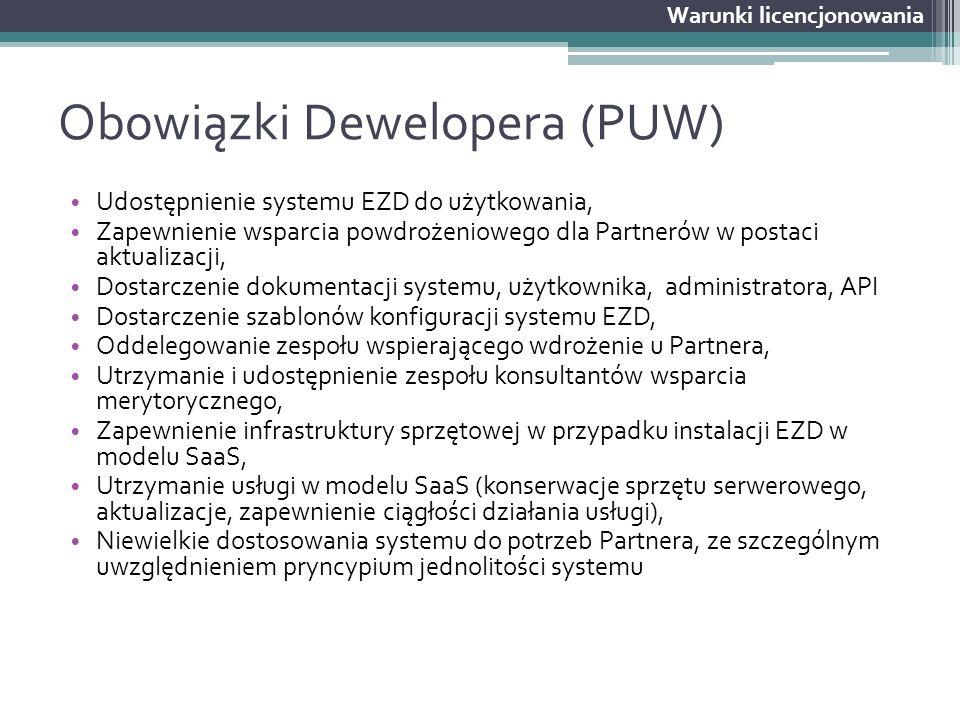 Obowiązki Dewelopera (PUW) Udostępnienie systemu EZD do użytkowania, Zapewnienie wsparcia powdrożeniowego dla Partnerów w postaci aktualizacji, Dostar