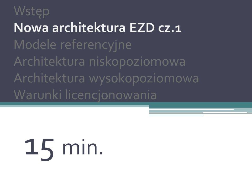 Nowa architektura EZD Wstęp Nowa architektura EZD cz.2 Modele referencyjne Architektura wysokopoziomowa Architektura niskopoziomowa Warunki licencjonowania 5 min.