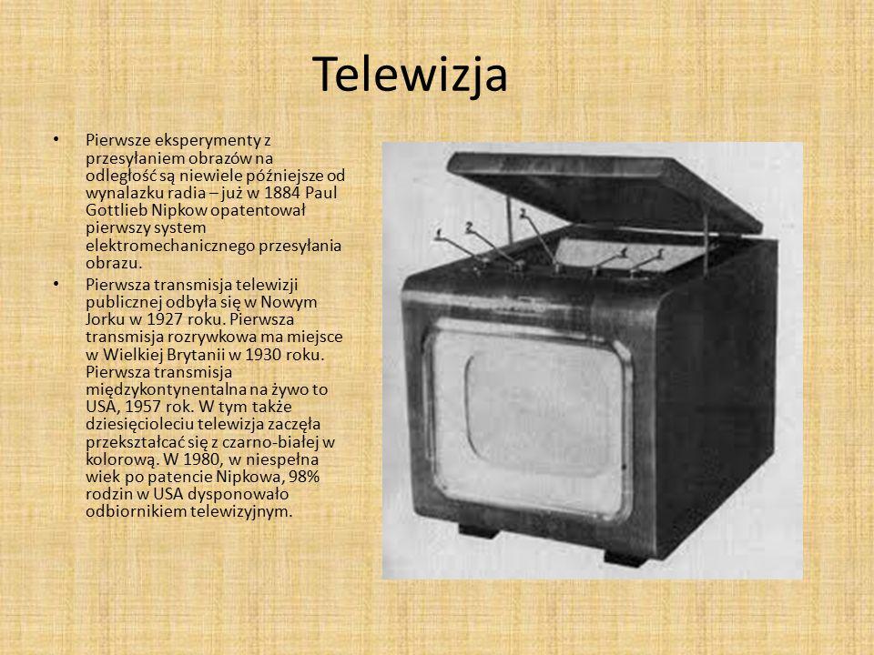 Telewizja Pierwsze eksperymenty z przesyłaniem obrazów na odległość są niewiele późniejsze od wynalazku radia – już w 1884 Paul Gottlieb Nipkow opaten