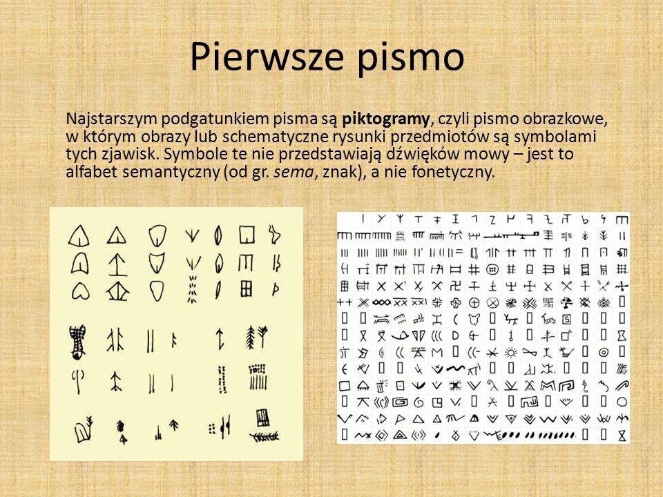 Pierwsze pismo Najstarszym podgatunkiem pisma są piktogramy, czyli pismo obrazkowe, w którym obrazy lub schematyczne rysunki przedmiotów są symbolami