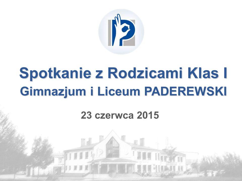 Spotkanie z Rodzicami Klas I Gimnazjum i Liceum PADEREWSKI 23 czerwca 2015
