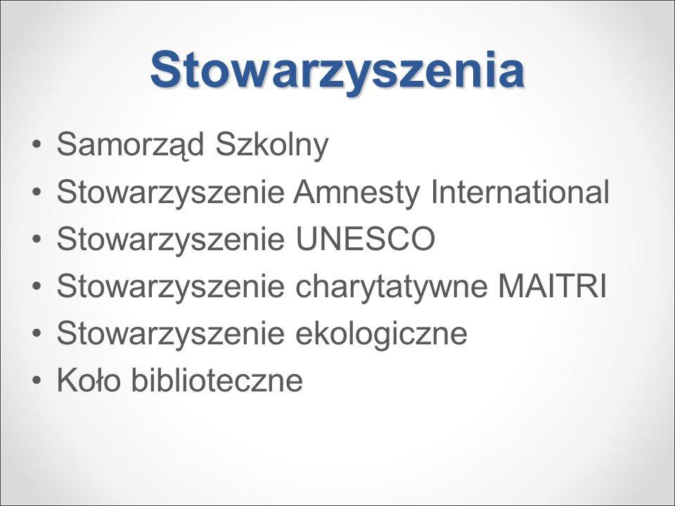 Stowarzyszenia Samorząd Szkolny Stowarzyszenie Amnesty International Stowarzyszenie UNESCO Stowarzyszenie charytatywne MAITRI Stowarzyszenie ekologicz