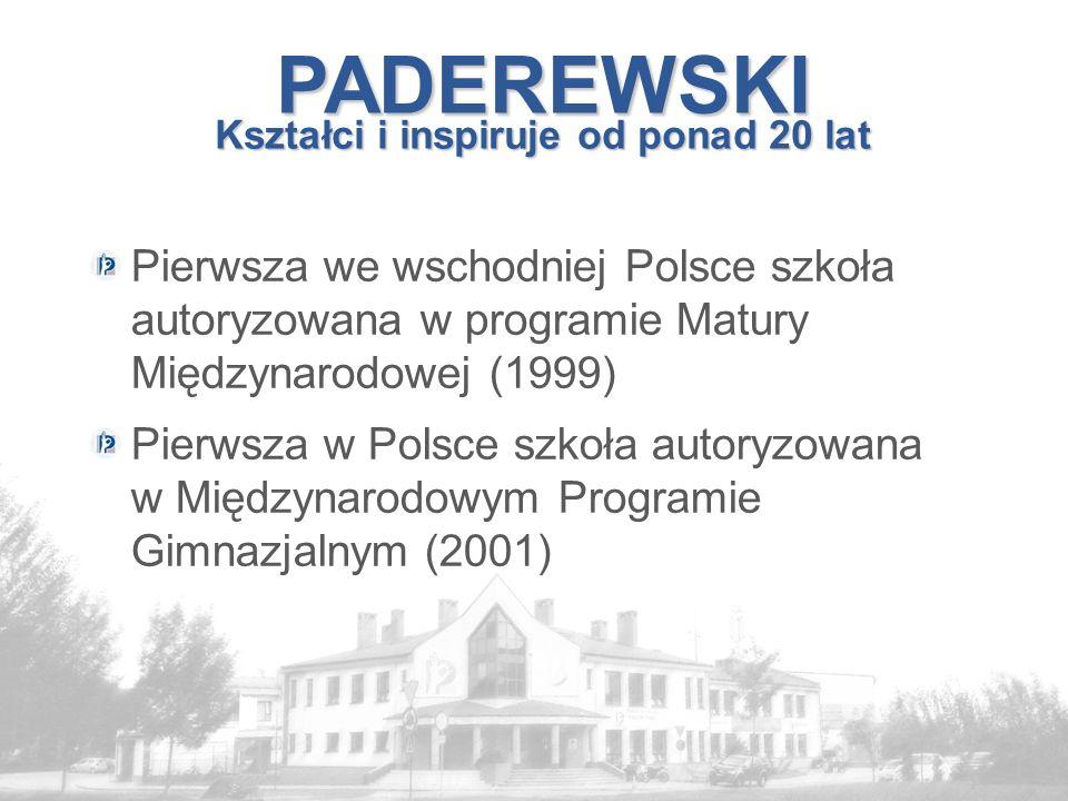 PADEREWSKI Kształci i inspiruje od ponad 20 lat Pierwsza we wschodniej Polsce szkoła autoryzowana w programie Matury Międzynarodowej (1999) Pierwsza w