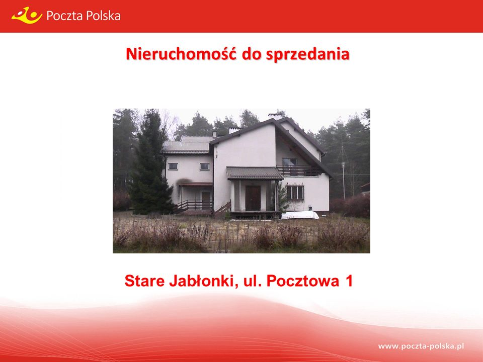 Przedmiot sprzedaży: Przedmiot sprzedaży: prawo wieczystego użytkowania nieruchomości oznaczonych w ewidencji gruntów numerami 24/4 i 24/9, łącznego obszaru 3165 m 2, położonych w miejscowości Stare Jabłonki, ul.