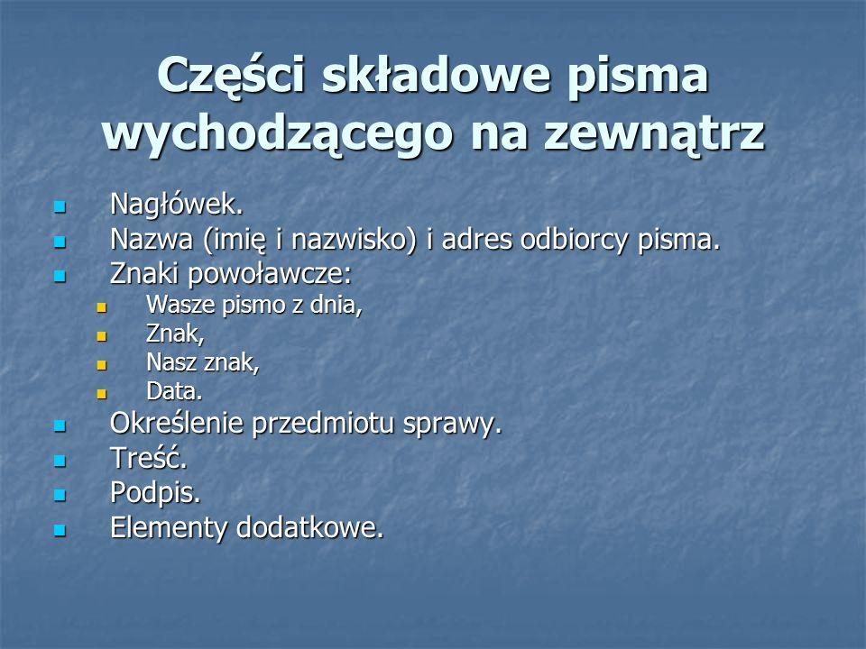 Części składowe pisma wychodzącego na zewnątrz Nagłówek.