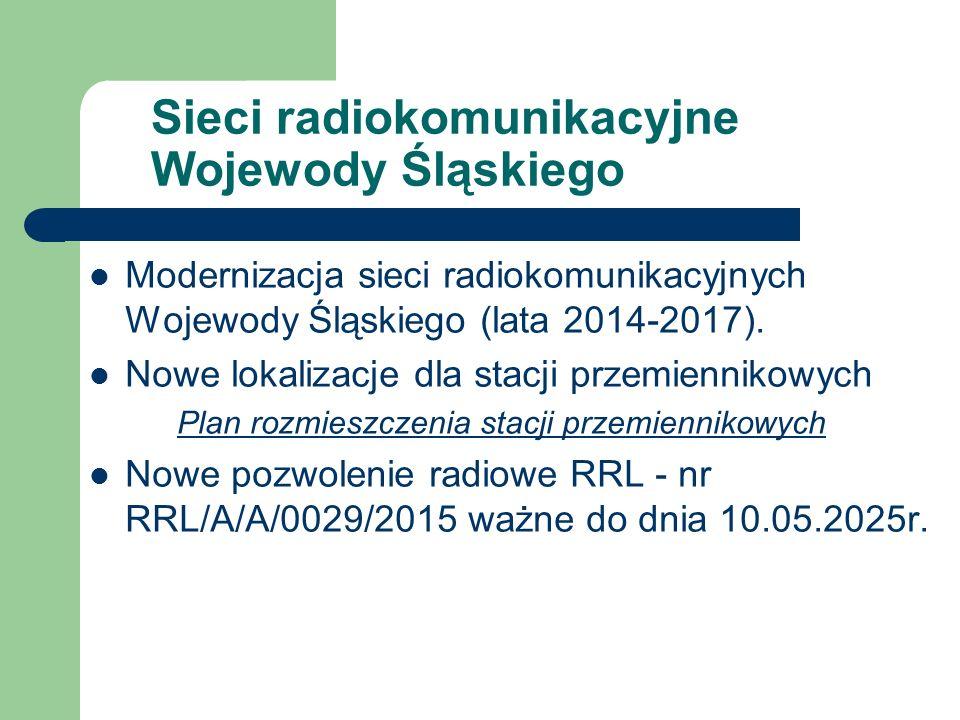 Sieci radiokomunikacyjne Wojewody Śląskiego Modernizacja sieci radiokomunikacyjnych Wojewody Śląskiego (lata 2014-2017). Nowe lokalizacje dla stacji p