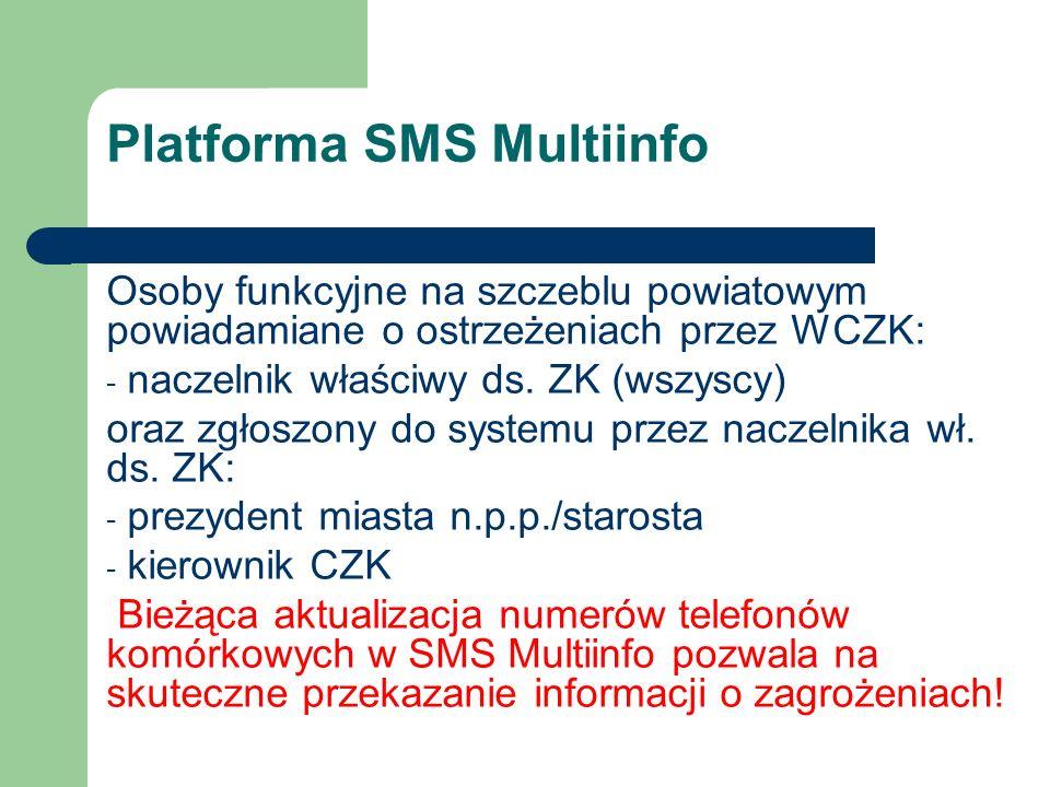 Platforma SMS Multiinfo Osoby funkcyjne na szczeblu powiatowym powiadamiane o ostrzeżeniach przez WCZK: - naczelnik właściwy ds. ZK (wszyscy) oraz zg