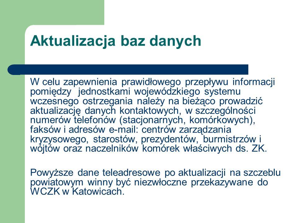 Kierownik Wojewódzkiego Centrum Zarządzania Kryzysowego w Katowicach Janusz Kulej – WCZK w Katowicach pokój nr 104 tel.