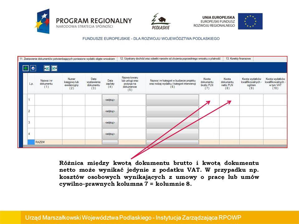 Urząd Marszałkowski Województwa Podlaskiego - Instytucja Zarządzająca RPOWP Różnica między kwotą dokumentu brutto i kwotą dokumentu netto może wynikać jedynie z podatku VAT.