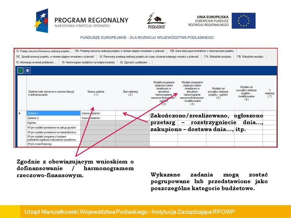 Urząd Marszałkowski Województwa Podlaskiego - Instytucja Zarządzająca RPOWP Zakończono/zrealizowano, ogłoszono przetarg – rozstrzygnięcie dnia…, zakupiono – dostawa dnia…, itp.