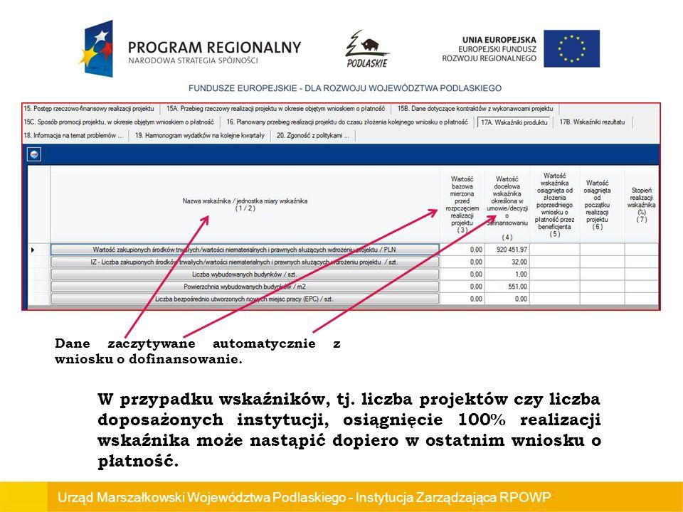 Urząd Marszałkowski Województwa Podlaskiego - Instytucja Zarządzająca RPOWP Dane zaczytywane automatycznie z wniosku o dofinansowanie.