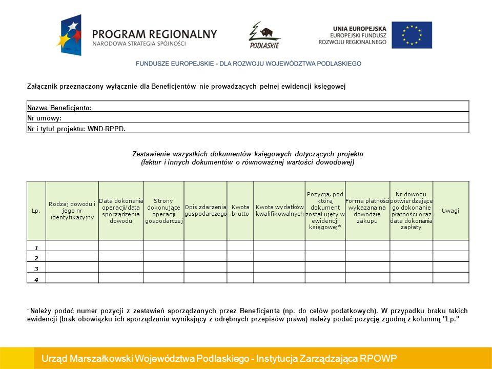 Urząd Marszałkowski Województwa Podlaskiego - Instytucja Zarządzająca RPOWP Załącznik przeznaczony wyłącznie dla Beneficjentów nie prowadzących pełnej ewidencji księgowej Nazwa Beneficjenta: Nr umowy: Nr i tytuł projektu: WND-RPPD.