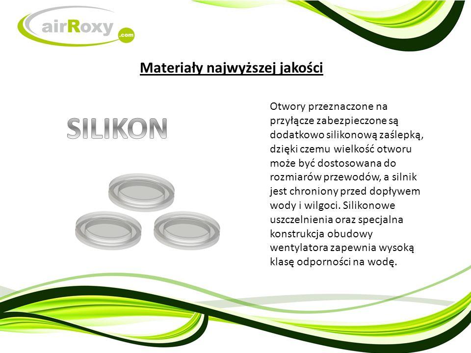 Otwory przeznaczone na przyłącze zabezpieczone są dodatkowo silikonową zaślepką, dzięki czemu wielkość otworu może być dostosowana do rozmiarów przewodów, a silnik jest chroniony przed dopływem wody i wilgoci.