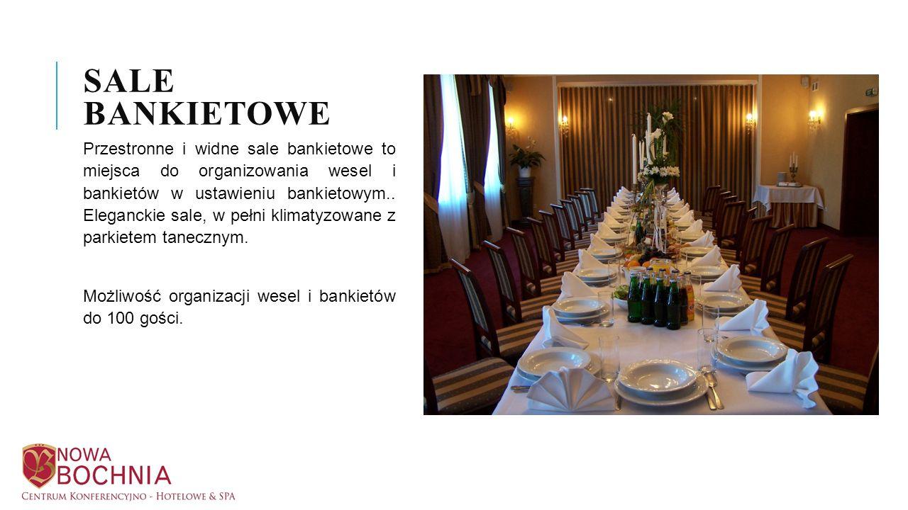Przestronne i widne sale bankietowe to miejsca do organizowania wesel i bankietów w ustawieniu bankietowym.. Eleganckie sale, w pełni klimatyzowane z