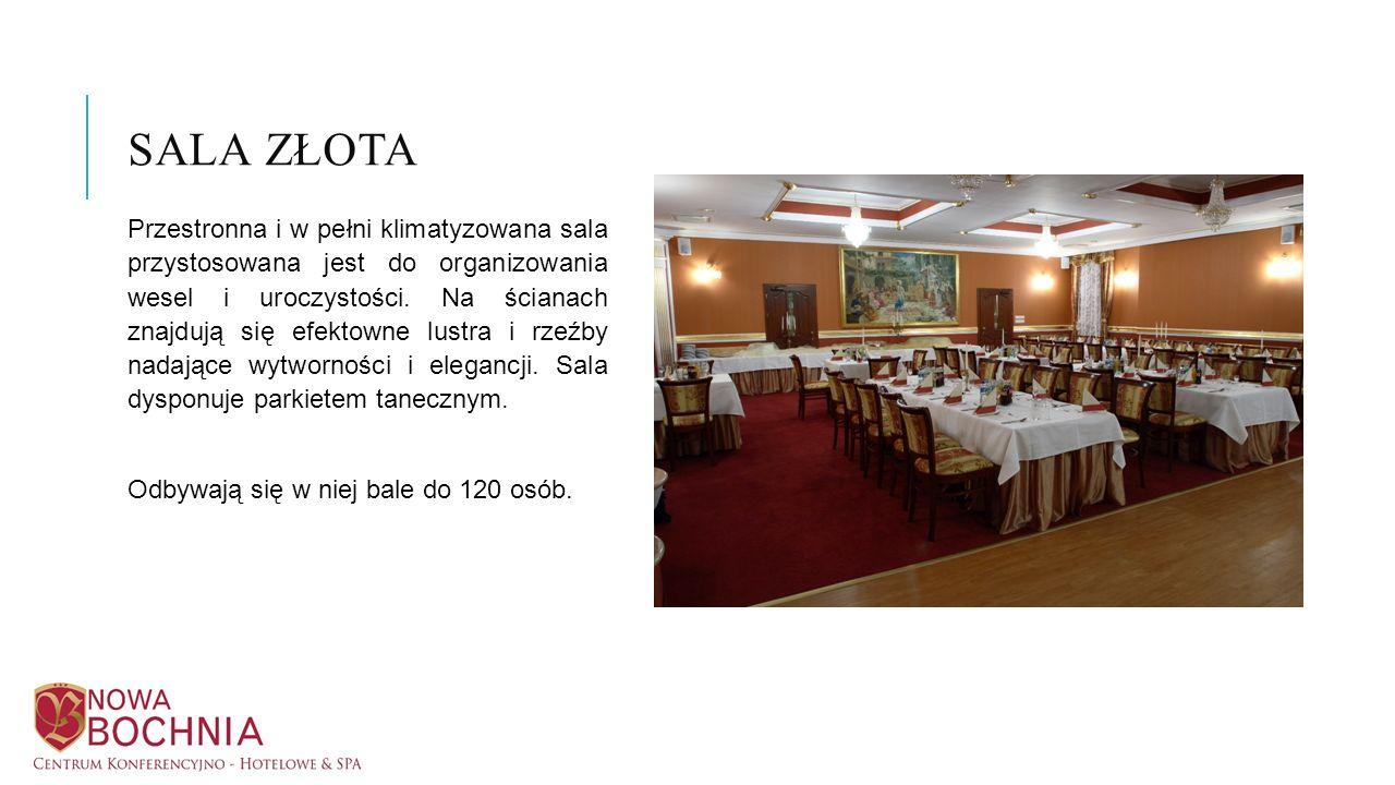 Przestronna i w pełni klimatyzowana sala przystosowana jest do organizowania wesel i uroczystości. Na ścianach znajdują się efektowne lustra i rzeźby
