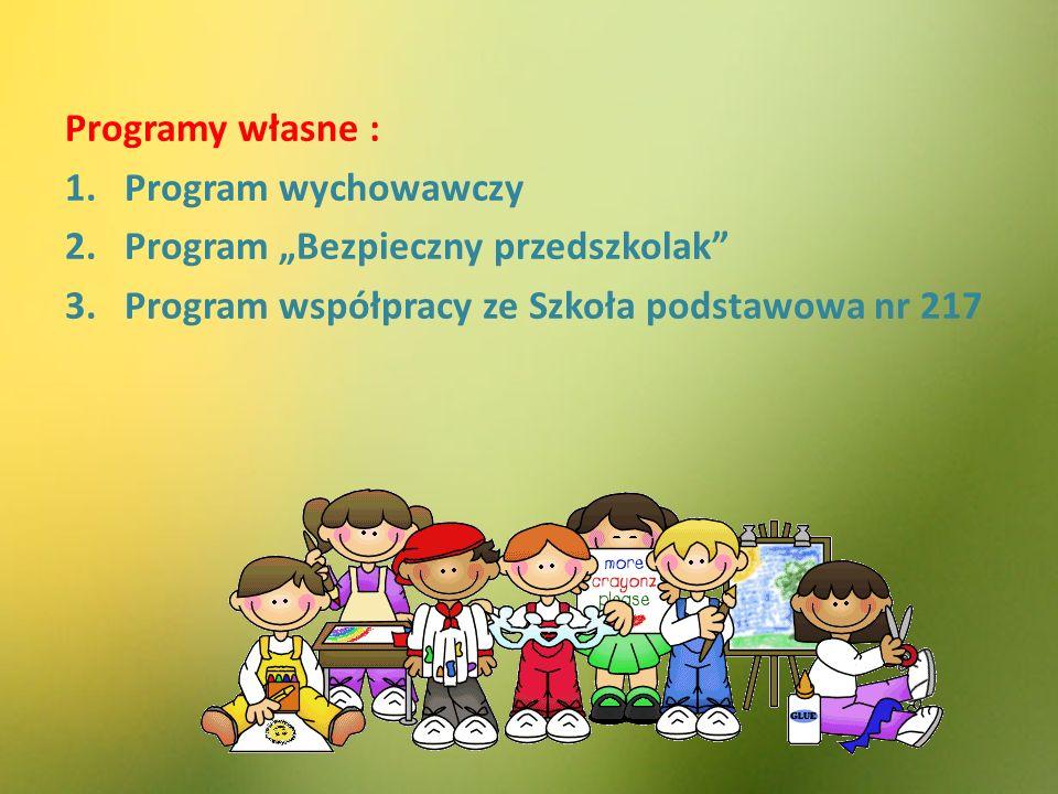 """Programy własne : 1.Program wychowawczy 2.Program """"Bezpieczny przedszkolak 3.Program współpracy ze Szkoła podstawowa nr 217"""