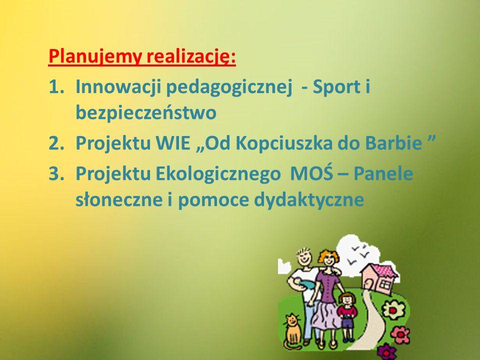 """Planujemy realizację: 1.Innowacji pedagogicznej - Sport i bezpieczeństwo 2.Projektu WIE """"Od Kopciuszka do Barbie 3.Projektu Ekologicznego MOŚ – Panele słoneczne i pomoce dydaktyczne"""