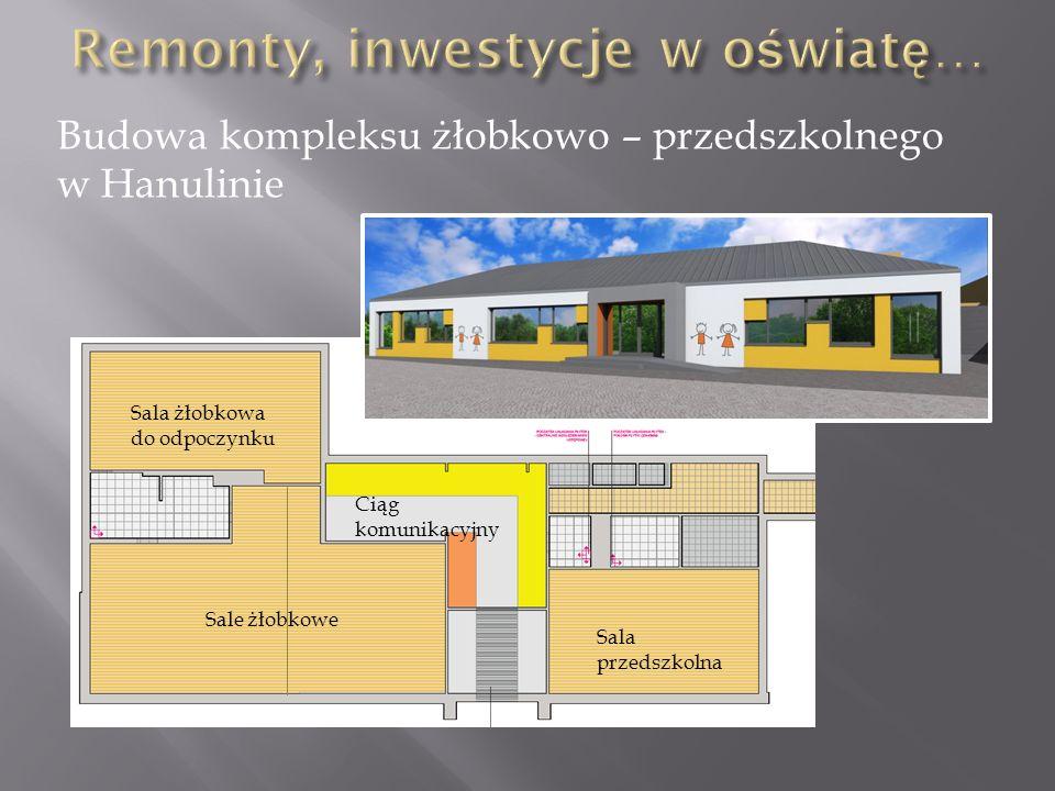 Budowa kompleksu żłobkowo – przedszkolnego w Hanulinie Sala żłobkowa do odpoczynku Sale żłobkowe Sala przedszkolna Ciąg komunikacyjny