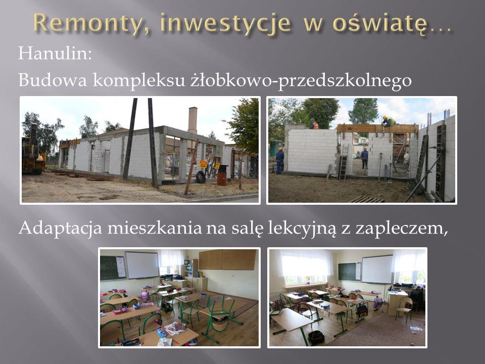 Hanulin: Budowa kompleksu żłobkowo-przedszkolnego Adaptacja mieszkania na salę lekcyjną z zapleczem,