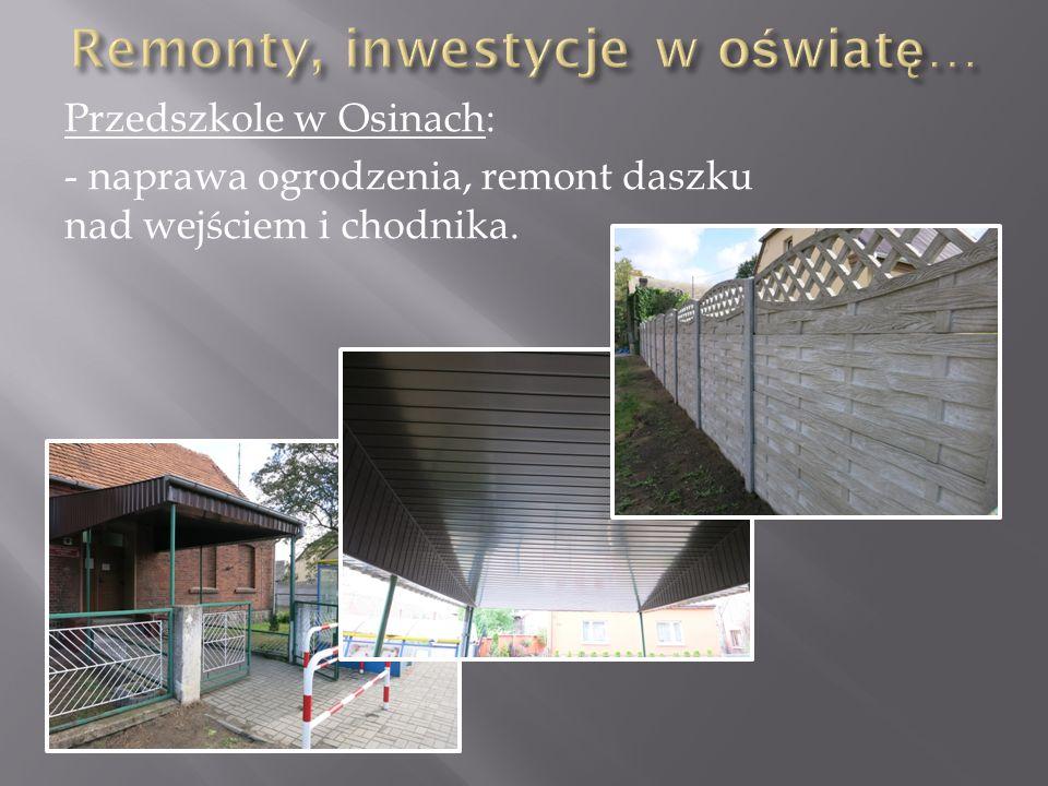 Przedszkole w Osinach: - naprawa ogrodzenia, remont daszku nad wejściem i chodnika.