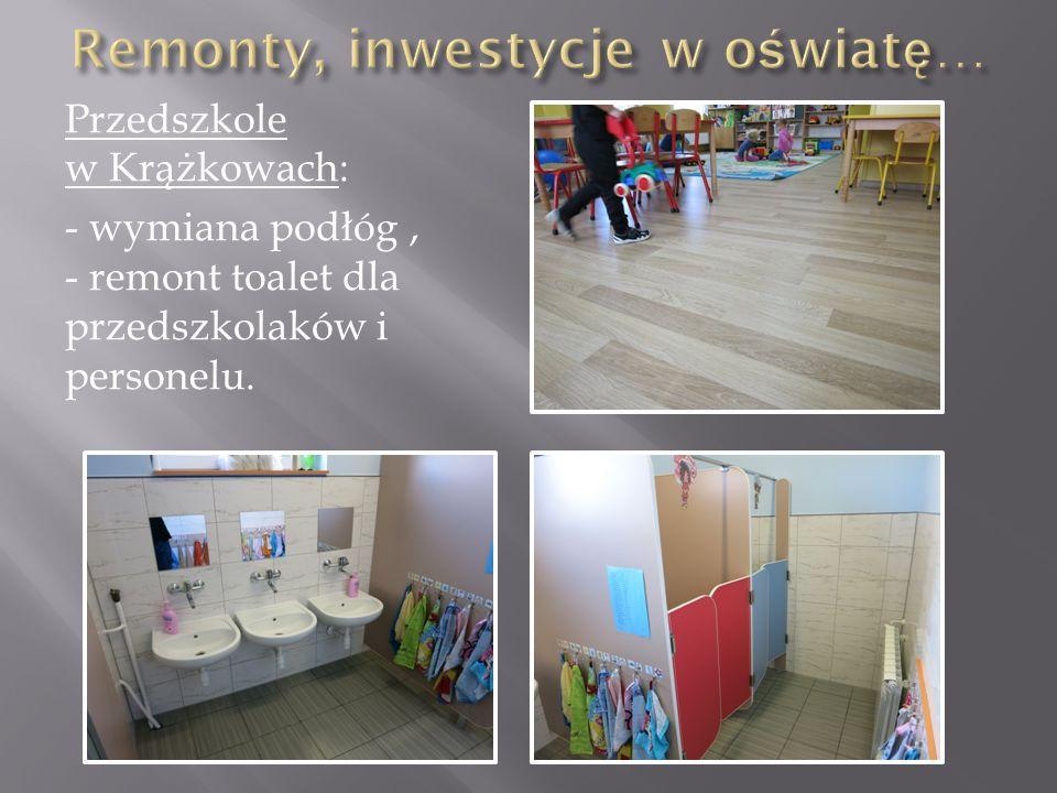 Przedszkole w Krążkowach: - wymiana podłóg, - remont toalet dla przedszkolaków i personelu.