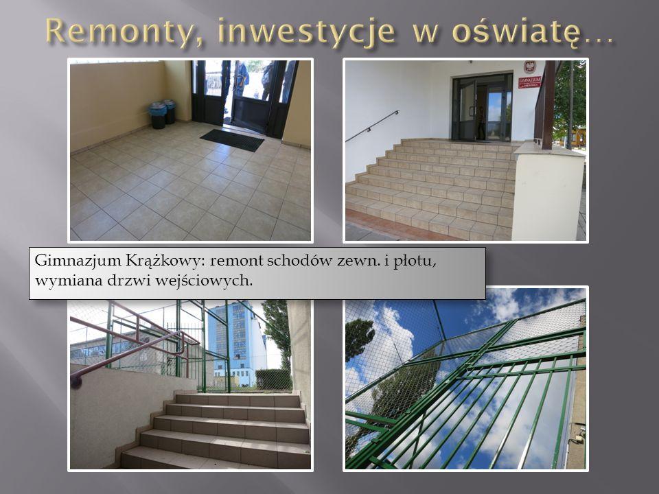 Gimnazjum Krążkowy: remont schodów zewn. i płotu, wymiana drzwi wejściowych.