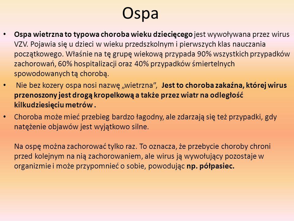 Ospa Ospa wietrzna to typowa choroba wieku dziecięcego jest wywoływana przez wirus VZV. Pojawia się u dzieci w wieku przedszkolnym i pierwszych klas n