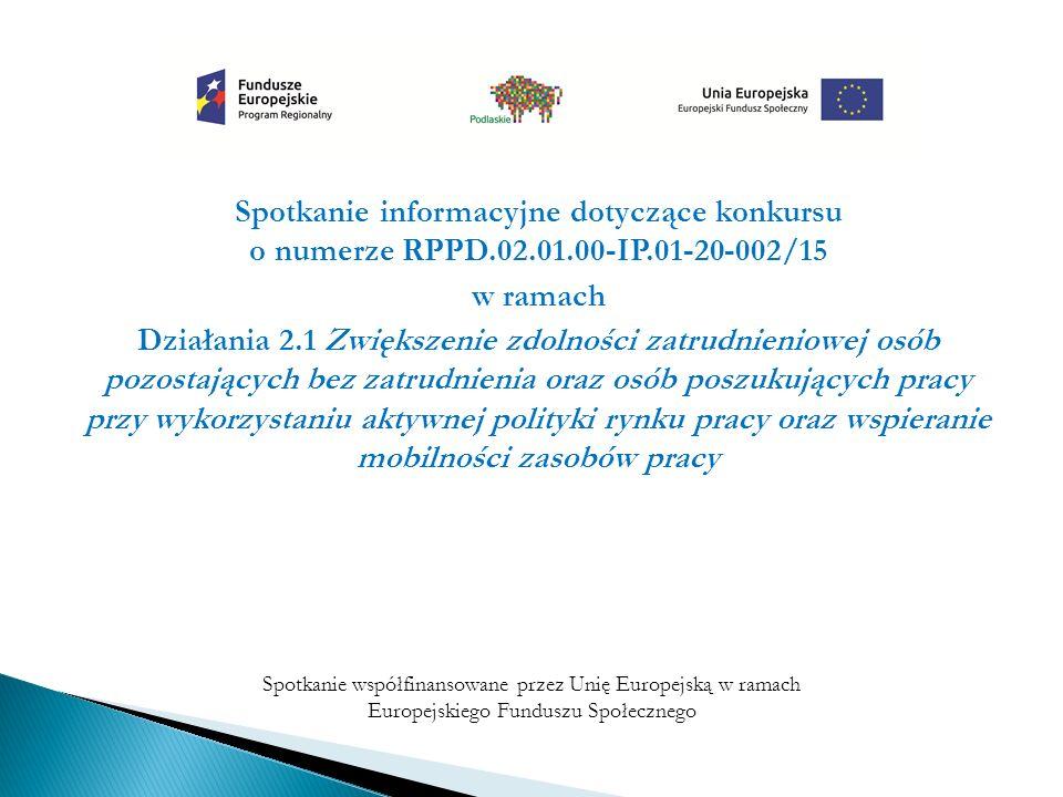 Spotkanie informacyjne dotyczące konkursu o numerze RPPD.02.01.00-IP.01-20-002/15 w ramach Działania 2.1 Zwiększenie zdolności zatrudnieniowej osób pozostających bez zatrudnienia oraz osób poszukujących pracy przy wykorzystaniu aktywnej polityki rynku pracy oraz wspieranie mobilności zasobów pracy Spotkanie współfinansowane przez Unię Europejską w ramach Europejskiego Funduszu Społecznego