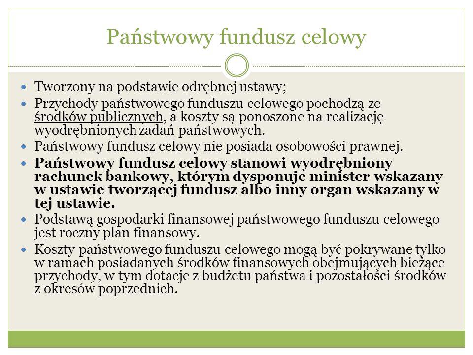 Państwowy fundusz celowy Tworzony na podstawie odrębnej ustawy; Przychody państwowego funduszu celowego pochodzą ze środków publicznych, a koszty są p