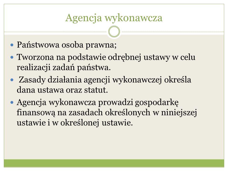 Agencja wykonawcza Państwowa osoba prawna; Tworzona na podstawie odrębnej ustawy w celu realizacji zadań państwa. Zasady działania agencji wykonawczej