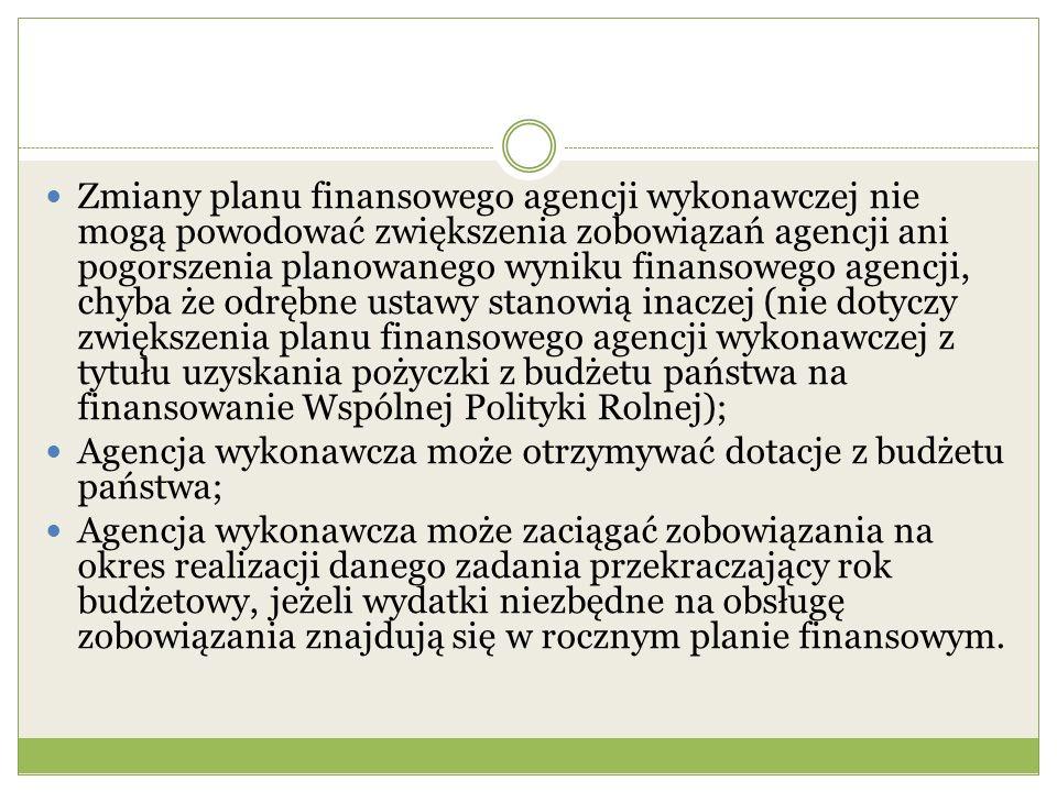 Zmiany planu finansowego agencji wykonawczej nie mogą powodować zwiększenia zobowiązań agencji ani pogorszenia planowanego wyniku finansowego agencji,