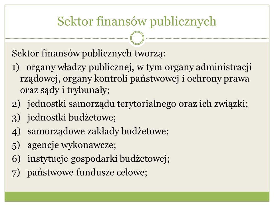 Sektor finansów publicznych Sektor finansów publicznych tworzą: 1) organy władzy publicznej, w tym organy administracji rządowej, organy kontroli pańs