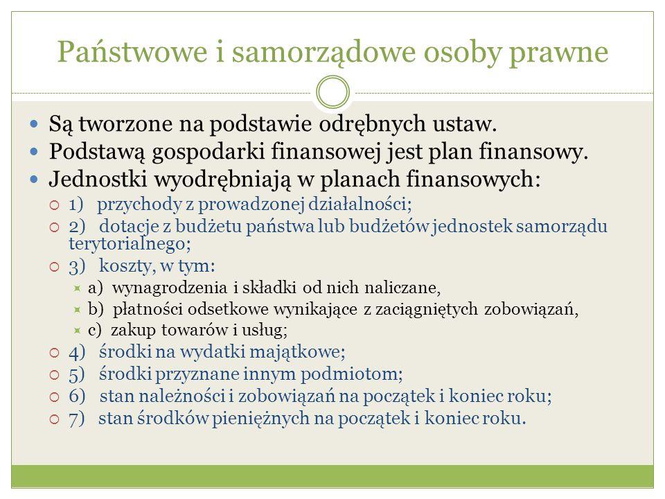 Państwowe i samorządowe osoby prawne Są tworzone na podstawie odrębnych ustaw. Podstawą gospodarki finansowej jest plan finansowy. Jednostki wyodrębni