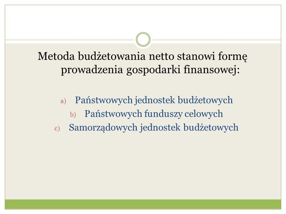 Metoda budżetowania netto stanowi formę prowadzenia gospodarki finansowej: a) Państwowych jednostek budżetowych b) Państwowych funduszy celowych c) Sa