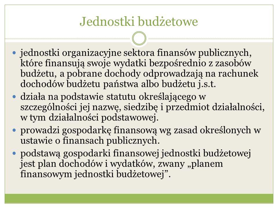 Jednostki budżetowe jednostki organizacyjne sektora finansów publicznych, które finansują swoje wydatki bezpośrednio z zasobów budżetu, a pobrane doch