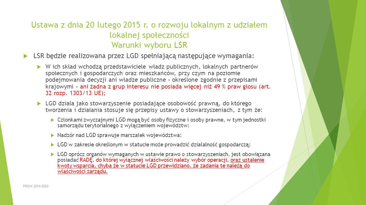 Ustawa z dnia 20 lutego 2015 r. o rozwoju lokalnym z udziałem lokalnej społeczności Warunki wyboru LSR  LSR będzie realizowana przez LGD spełniającą