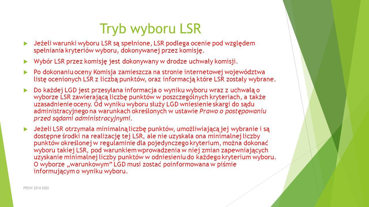 Tryb wyboru LSR  Jeżeli warunki wyboru LSR są spełnione, LSR podlega ocenie pod względem spełniania kryteriów wyboru, dokonywanej przez komisję.  Wy