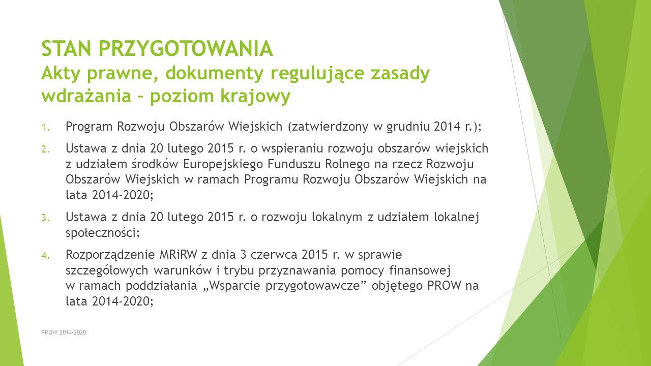 STAN PRZYGOTOWANIA Akty prawne, dokumenty regulujące zasady wdrażania – poziom krajowy 1. Program Rozwoju Obszarów Wiejskich (zatwierdzony w grudniu 2