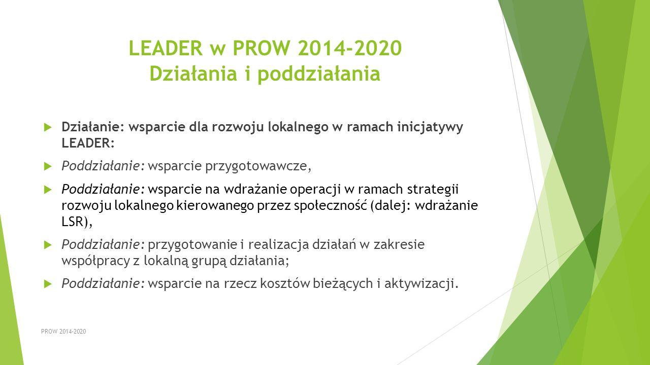 LEADER w PROW 2014-2020 Działania i poddziałania  Działanie: wsparcie dla rozwoju lokalnego w ramach inicjatywy LEADER:  Poddziałanie: wsparcie przy