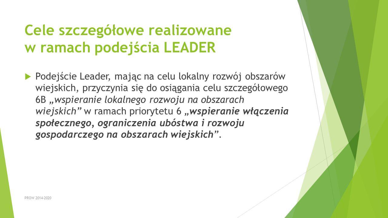 Cele szczegółowe realizowane w ramach podejścia LEADER  Podejście Leader, mając na celu lokalny rozwój obszarów wiejskich, przyczynia się do osiągani