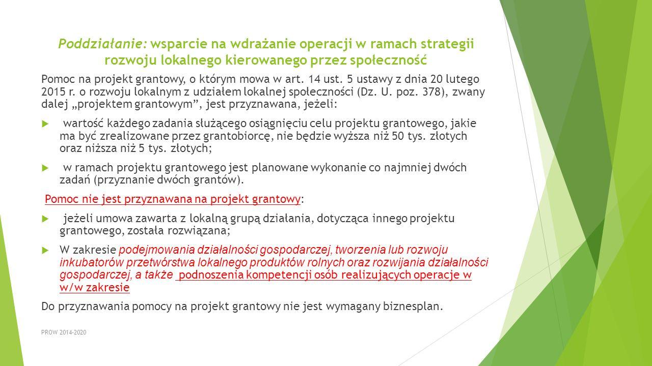 Poddziałanie: wsparcie na wdrażanie operacji w ramach strategii rozwoju lokalnego kierowanego przez społeczność Pomoc na projekt grantowy, o którym mo