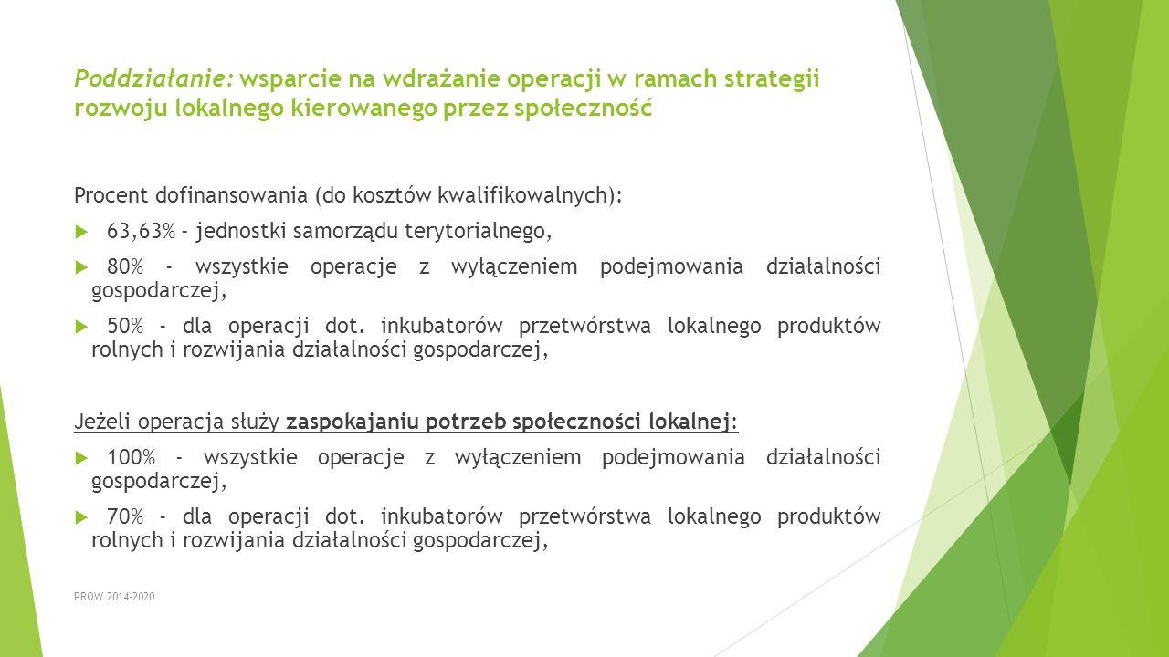 Poddziałanie: wsparcie na wdrażanie operacji w ramach strategii rozwoju lokalnego kierowanego przez społeczność Procent dofinansowania (do kosztów kwa