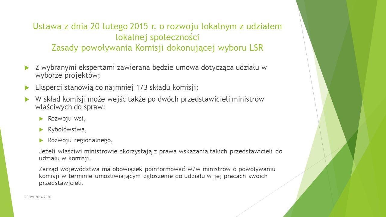 Ustawa z dnia 20 lutego 2015 r. o rozwoju lokalnym z udziałem lokalnej społeczności Zasady powoływania Komisji dokonującej wyboru LSR  Z wybranymi ek