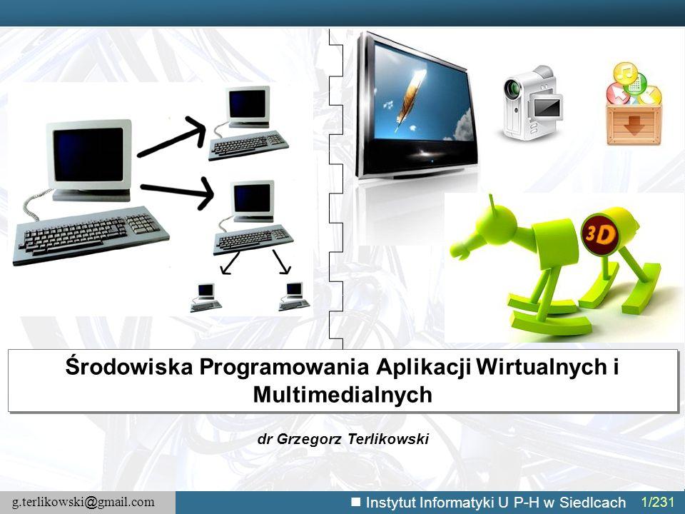 g.terlikowski @ gmail.com Instytut Informatyki U P-H w Siedlcach 192/231 Aktualizacja aplikacji – przykład (2) //Funkcja pyta użytkownika, czy chce zaktualizować aplikację, o ile jest dostępna jej nowsza wersja function askAboutUpdate(){ if(xhr.readyState == 4){//Sprawdź wartość właściwości readyState //Pobierz aktualną wersję currentVersion = xhr.responseText; //Zaproponuj użytkownikowi aktualizację if(currentVersion > thisVersion){ if(confirm( Zaktualizować aplikację? )) downloadNewVersion(); }else{ alert( Twoja aplikacja jest aktualna ); } function downloadNewVersion(){ var url = new air.URLRequest( http://serwer_macierzysty/MyApp.air ); urlStream = new air.URLStream(); data = new air.ByteArray(); //Dodaj słuchacza zdarzeń urlStream.addEventListener(air.Event.COMPLETE, saveNewVersion); //Pobierz dane: urlStream.load(url); }